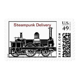 Correo de Steampunk - entrega del tren del vapor Timbre Postal