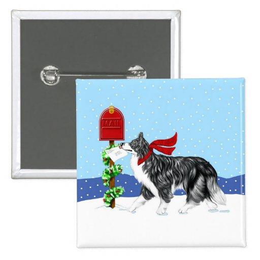 Correo del border collie del navidad pin cuadrado