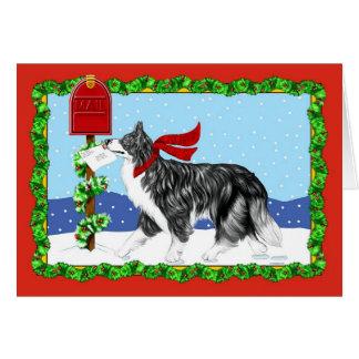 Correo del border collie del navidad tarjeta