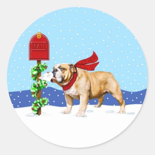 Correo del día de fiesta del navidad del dogo etiquetas
