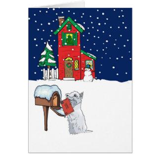 Correo del navidad de Westie Tarjeta De Felicitación