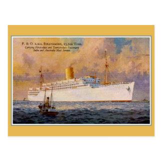 Correo del RMS Strathmore del vintage y trazador d Tarjeta Postal