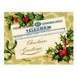 Correo del telegrama de los saludos del navidad tarjeta postal