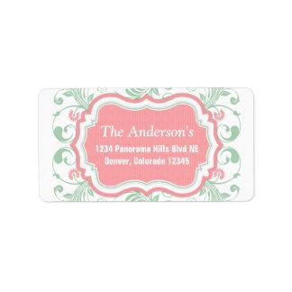 Correo floral rosado del remite de la verde menta etiquetas de dirección