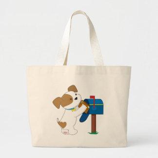 Correo lindo del perrito bolsa tela grande