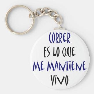Correr Es Lo Que Me Mantiene Vivo Keychain