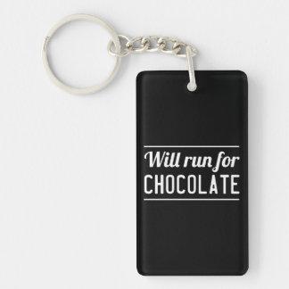 Correrá para el chocolate llavero rectangular acrílico a doble cara
