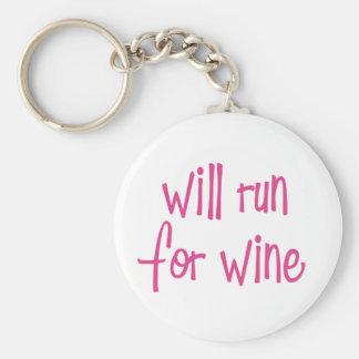 Correrá para el vino llavero redondo tipo pin