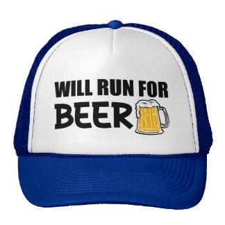 Correrá para la cerveza divertida gorras