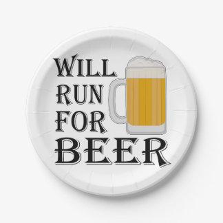 Correrá para la cerveza plato de papel de 7 pulgadas