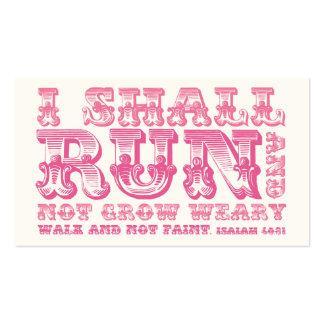 Correré y no creceré tipografía rosada cansada tarjetas de visita