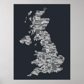 Correspondencia de texto BRITÁNICA de la ciudad de Póster