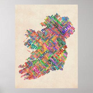 Correspondencia de texto de la ciudad de Irlanda E Posters