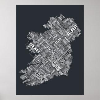 Correspondencia de texto de la ciudad de Irlanda E Poster