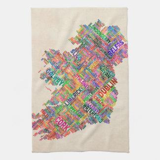 Correspondencia de texto de la ciudad de Irlanda E Toalla