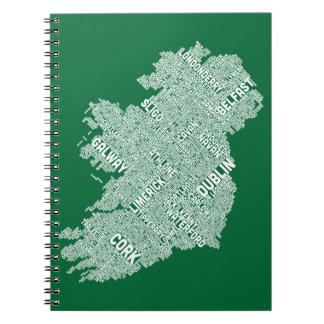 Correspondencia de texto de la ciudad de Irlanda Libreta