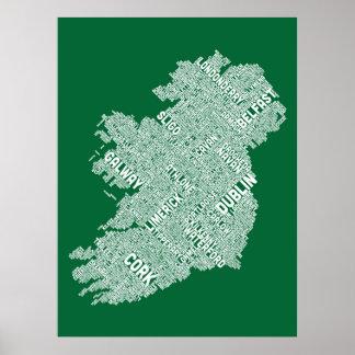 Correspondencia de texto de la ciudad de Irlanda Impresiones