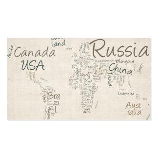 Correspondencia de texto de la escritura del mapa tarjetas de visita