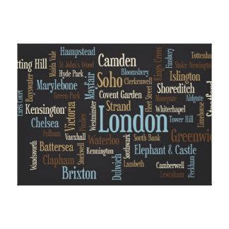 Correspondencia de texto de Londres Lona Envuelta Para Galerias