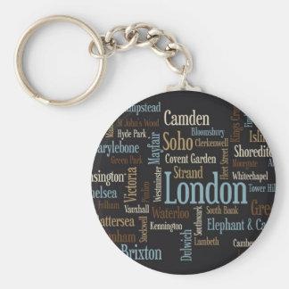 Correspondencia de texto de Londres Llavero Redondo Tipo Pin