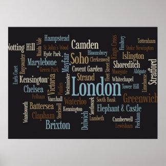 Correspondencia de texto de Londres Posters