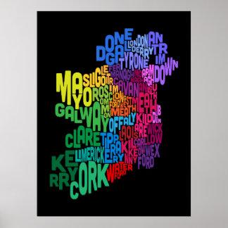 Correspondencia de texto del condado de Irlanda Ei Impresiones