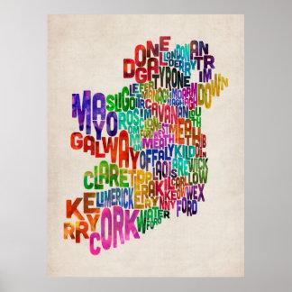 Correspondencia de texto del condado de Irlanda Ei Posters