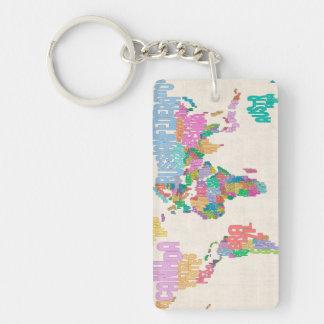 Correspondencia de texto del mapa del mundo llavero rectangular acrílico a doble cara