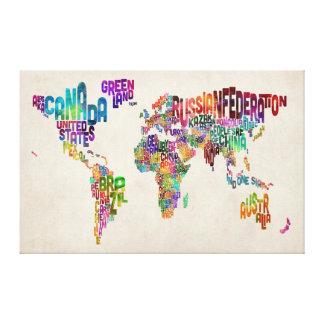 Correspondencia de texto del mundo impresión en lona