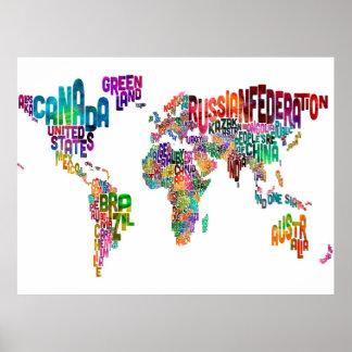 Correspondencia de texto del mundo póster