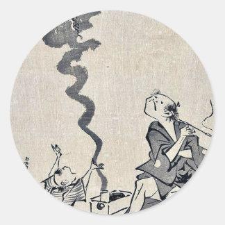 Correspondencia de Toba e por Utagawa, Toyohiro Pegatina Redonda
