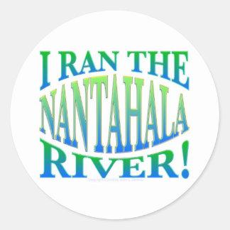 Corrí el río de Nantahala Pegatina Redonda