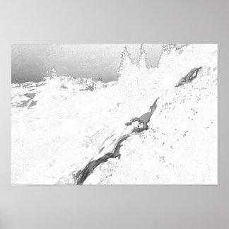 corriente de la montaña póster