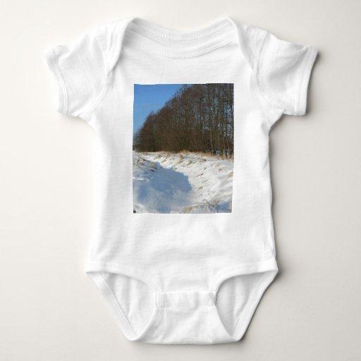 Corriente del agua ocultada debajo de nieve t shirt