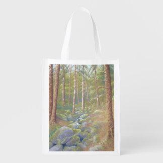 Corriente del arbolado, bolso reutilizable del bolsas para la compra