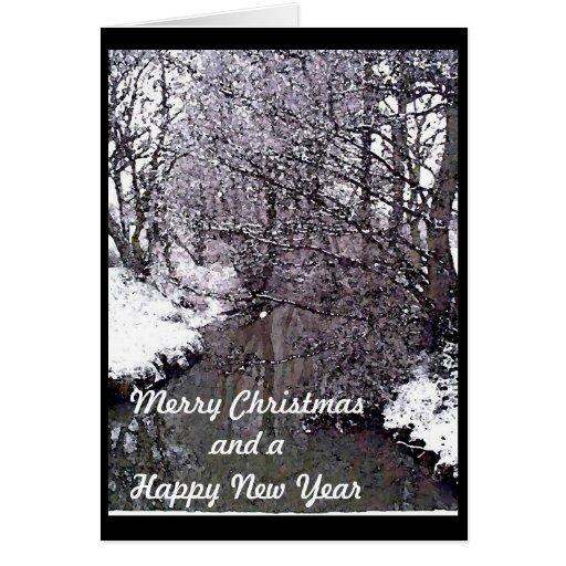 Corriente del arbolado en nieve tarjeta de felicitación