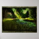 Corriente del bosque de Aliriums - poster/impresió