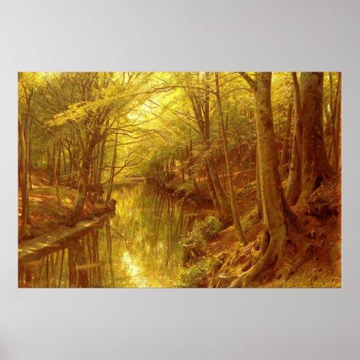 Corriente del bosque póster