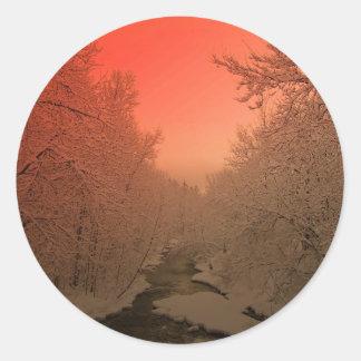 Corriente del invierno etiquetas redondas
