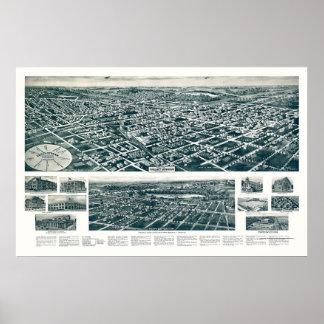 Corriente del valle, mapa panorámico de NY - 1924 Póster