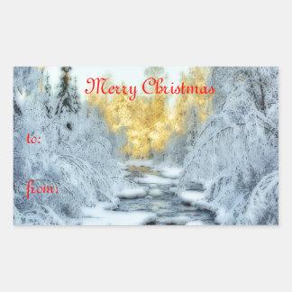 Corriente hivernal pegatina rectangular