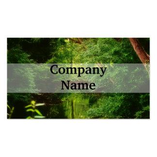 Corriente verde soñadora del bosque y del agua tarjetas de visita