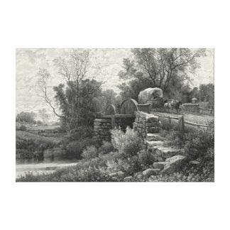 Corriente vieja 1883 del molino impresiones de lienzo