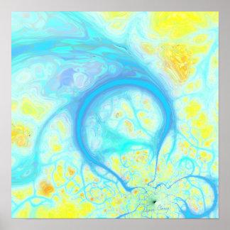 Corrientes de la alegría - aguamarina y limón cósm impresiones