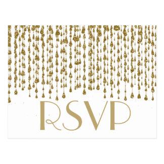 Corrientes del confeti del oro de RSVP el | Tarjetas Postales
