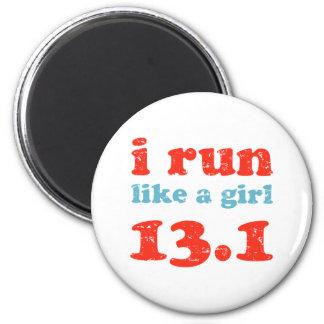 corro como un chica 13,1 imán redondo 5 cm