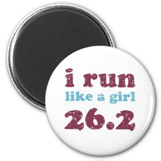 corro como un chica 26,2 imán redondo 5 cm