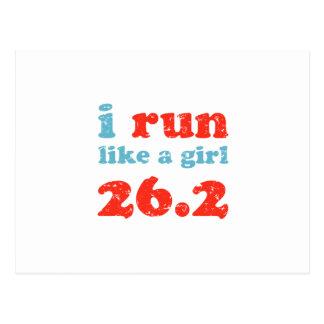corro como un chica 26,2 tarjeta postal
