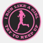 Corro como un chica, intento para continuar etiqueta redonda