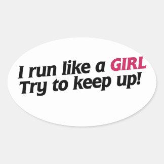 Corro como un chica colcomanias oval